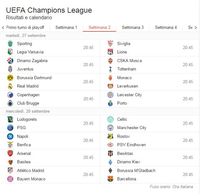Calendario Coppa Dei Campioni.Champions League 2016 17 Il Calendario Della Fase A Gironi