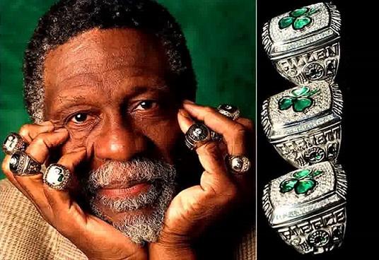 Bill Russell ed i suoi anelli NBA